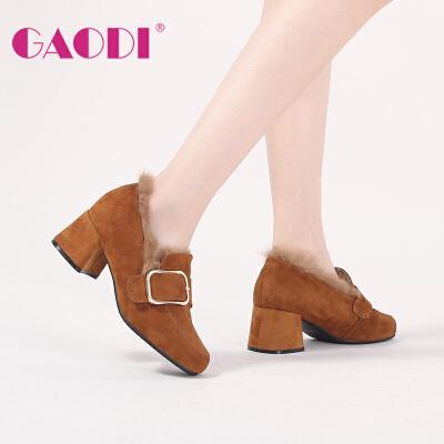 高蒂方头高跟棉鞋冬季新款韩版百搭羊猄兔毛拼接皮带扣加绒高跟鞋