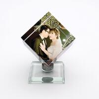 水晶照片定制水晶魔方影像旋转摆台相片相册制作diy个性生日礼物