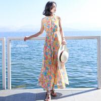 夏季新品女装圆领无袖雪纺长裙连衣裙波西米亚海边度假沙滩裙 图片色X564