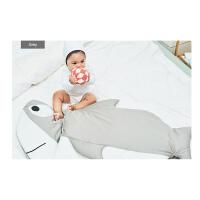 宝宝睡袋秋冬防踢被婴儿加厚抱被新生儿包巾纯棉鲨鱼外出推车睡袋 106*62(0-18个月)