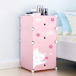 门扉 儿童收纳柜 床头柜简约现代简易迷你白色儿童收纳储物柜床边柜储藏柜子