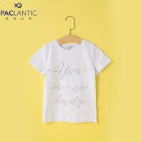 派克兰帝童装儿童字母印花T恤夏季女童时尚针织短袖T恤