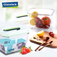 Glasslock 三光云彩�n���M口�化玻璃密封保�r盒手提�L方形便��盒�菜盒2500mlRP602