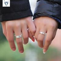 原创意情侣戒指一对爱的包容999纯银拉丝对戒女刻字手工制作银饰