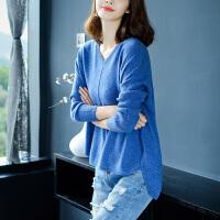 秋装女款羊毛衫宝蓝色上衣韩版宽松V领长袖前短后长毛衣