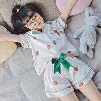 儿童睡衣女孩夏天纯棉套装薄款短袖宝宝小女孩公主女童家居服