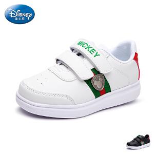 迪士尼童鞋17年新品儿童板鞋宝宝魔术贴中童滑板鞋户外休闲鞋pu板鞋