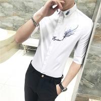 男士短袖�r衫男�n版 修身 潮流����W生�r衣7七分中袖寸衫5五分袖