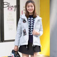 冰洁冬季新款时尚宽松廓形贴标连帽短款女士羽绒服J1601048
