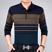 父亲节中年男士t恤春夏季中老年人男衬衣领长袖40-50岁爸爸装薄款