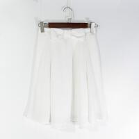O07053日单精品女装新款松紧高腰不勒显瘦好搭配纯色蝴蝶结半身裙