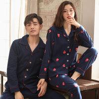 春秋季情侣睡衣纯棉长袖女士简约时尚套装男士全棉新款家居服套装