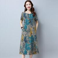 中国风长裙夏装新款棉麻风连衣裙女 大码宽松印花短袖中长裙