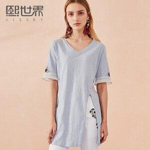 熙世界中长款V领直筒T恤女2018年夏装新款五分袖刺绣上衣112ST008