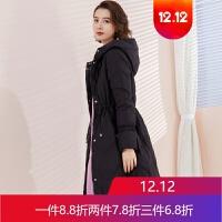 冬装韩版时尚修身黑色羽绒服女中长款轻薄显瘦外套