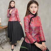 中国风春装唐装女上衣 兔毛红色旗袍上衣 中式复古长袖茶艺服上衣