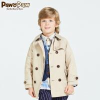 【1件3折 2件2.5折到手价:325】Pawinpaw宝英宝小熊童装春季款夹棉男童气质风衣