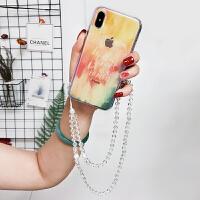 简约渲染蓝光苹果x手机壳透明iphone7/8plus软壳防摔6s创意女款潮