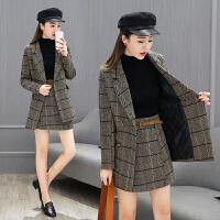 2018春新款时尚格子女装冬两件套名媛气质韩版修身小西装套装裙潮