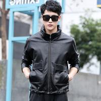 皮衣男士秋季新款青年男式皮衣外套修身学生时尚帅气机车真皮夹克小外套潮 X