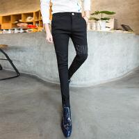 男士黑色小脚裤弹力小西裤修身休闲长裤发型师裤子潮流个性