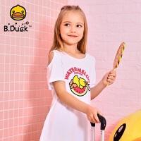 【4折价:103.6】B.duck小黄鸭童装女童短袖T恤夏装中长款露肩上衣潮BF2001953