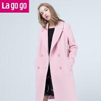 【满200减100】Lagogo/拉谷谷2016冬季新款女装中长款毛呢大衣外套女FDDD33B308