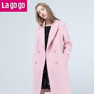 Lagogo/拉谷谷2016冬季新款女装中长款毛呢大衣外套女