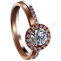梦克拉 18k金钻石戒指 幻彩星晴 玫瑰金钻戒 女款