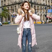 羽绒服女中长款2018韩版潮时尚冬季白鸭绒大毛领修身过膝外套