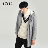 GXG毛呢大衣男装 冬季男士青年气质休闲灰色修身中长款羊毛大衣