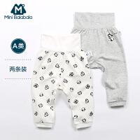 迷你巴拉巴拉婴幼儿2018春新款男女童宝宝儿童裤子两件套装护脐裤