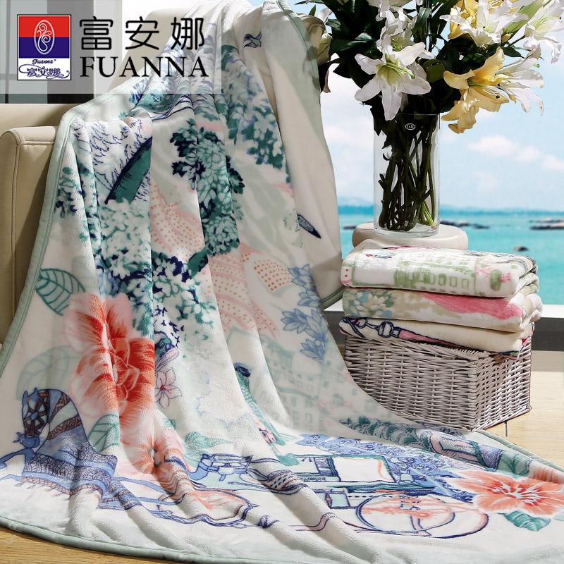 【1件6折】富安娜家纺 精致印花法兰绒毯保暖亲肤舒适办公室午睡盖毯150*200cm