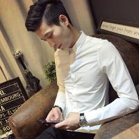 新款秋冬男装长袖衬衫休闲潮男青年新郎白衬衫时尚修身纯色衬衣潮