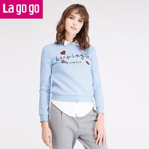拉谷谷lagogo冬季新款女装长袖套头圆领短款秋冬卫衣