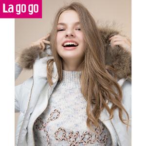 拉谷谷lagogo2016冬新款女纯色中长款长袖连帽羽绒服F