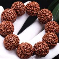 尼泊尔金刚菩提手串佛珠七瓣八瓣九瓣红皮金刚菩提子手链文玩念珠