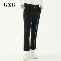【新款】GXG长裤男装 春季男士青年时尚字母印花黑色修身休闲长裤男