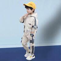 木木屋 男童春装套装2021新款儿童洋气网红时髦春夏款韩版男孩运动两件套