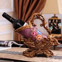 欧式红酒架摆件酒柜装饰品创意客厅树脂酒托现代葡萄酒瓶酒杯架子