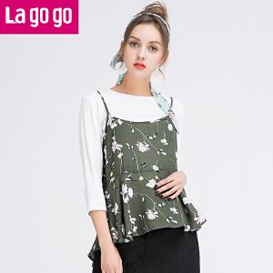Lagogo拉谷谷2017春季新款雪纺印花吊带背心七分袖圆领T恤两件套