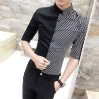 韩版理发店KTV衬衫发廊美发师服装工作服男士长袖衬衣服小衫潮男