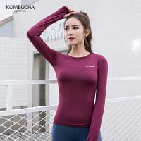 【折上1件8折/2件7.5折】Kombucha瑜伽健身长袖T恤2019新款女士修身显瘦弹力速干透气运动上衣JCCX473