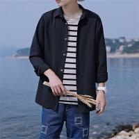 新款2018春季衬衣男长袖青年修身韩版休闲衬衫打底寸衫帅气潮