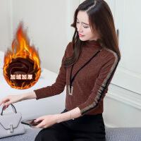 加绒加厚半高领打底衫女秋冬季小衫修身大码长袖亮丝网纱t恤上衣