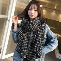 黑白格子围巾女秋冬季韩版百搭新款加厚保暖学生针织毛线冬天围脖