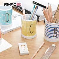 文具学生可爱笔筒学习办公韩国创意时尚笔筒小清新圆形笔筒