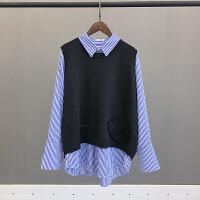 加肥加大码女装胖mm秋季新款针织马甲+条纹长袖衬衫胖妹妹两件套