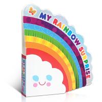 英文原版 My Rainbow Surprise 我的彩虹奇遇 纸板书 儿童启蒙颜色认知书 绚丽色彩辨认有益宝宝眼睛发