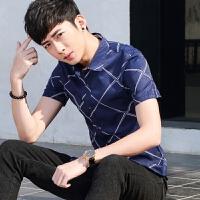 20180627020824489新款2018男士T恤夏季白色衬衫男士短袖衬衣韩版打底格子休闲潮流